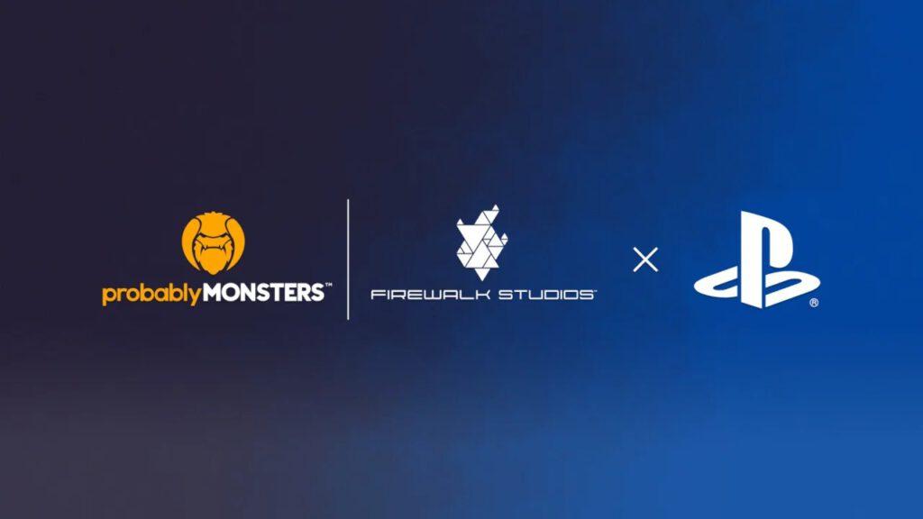 Logos da ProbablyMonsters e Firewalk Studios junto do PlayStation.